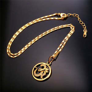 AUM OM Pendant Necklace gold plated with high quality Zirconia