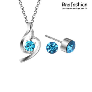 Fashion jewelry crystal necklaces pendants earrings + necklace jewelry set