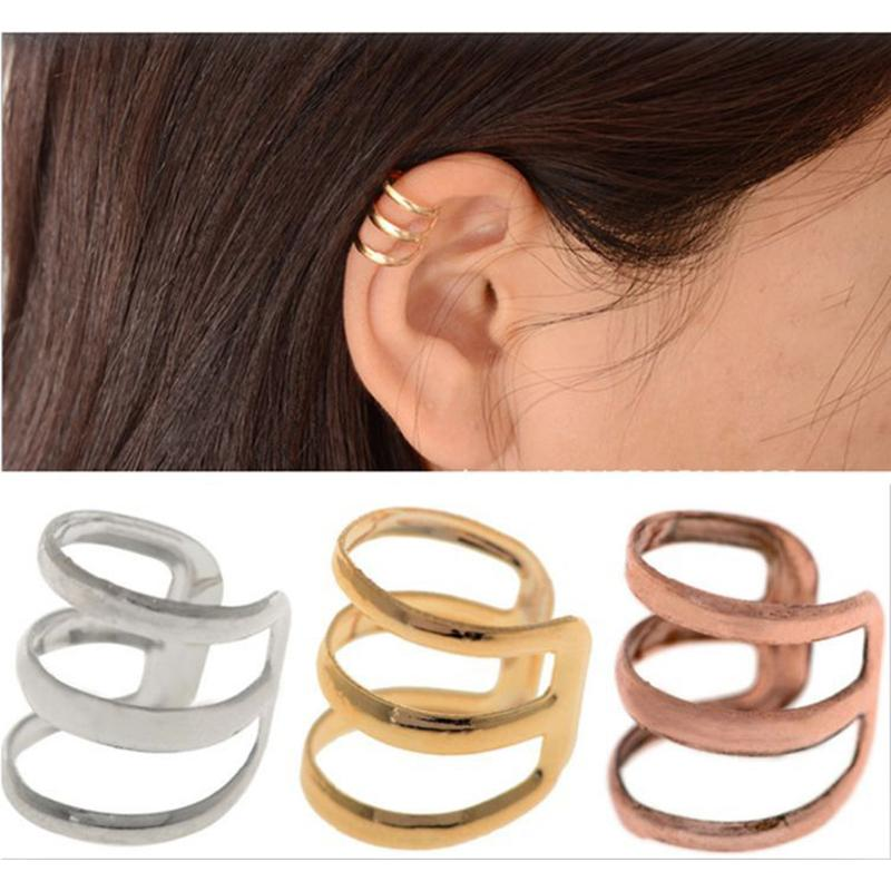 2pcs=1 Pairclip earrings for men and women stainless steel 3 Colors