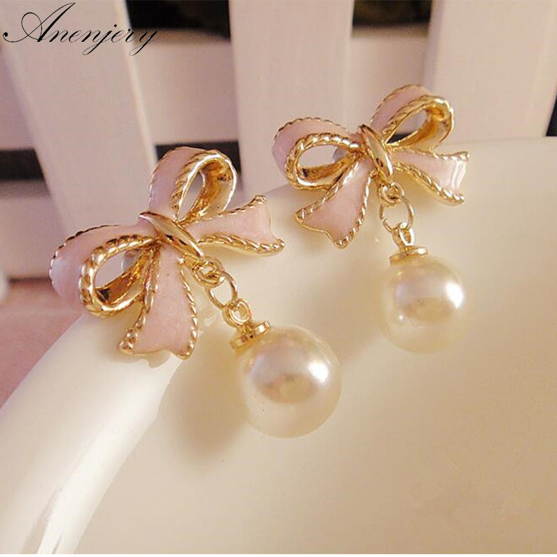 High Quality Delicate Gold Color Pink Drops Bow Knot Pearl Stud Earrings For Women