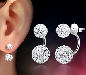 Shambhala double ball CZ Zirconia design silver plated stud women earrings