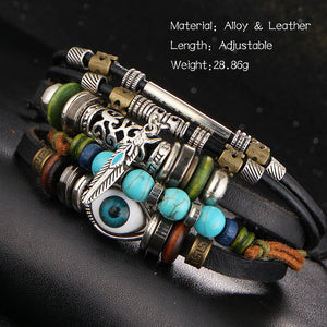 Owl Bracelets For Men Or Woman Wristband Leather Bracelet