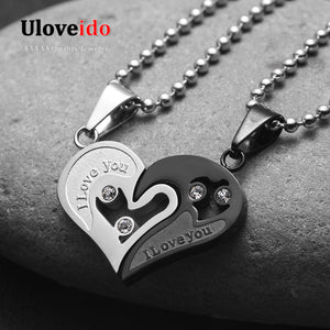 Mens Stainless Steel Chain Black Heart Love Necklaces for Couples