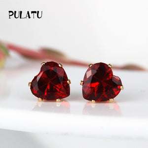 9 Color Heart 8mm Crystal Stud Earrings Rhinestone