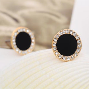 black crystal earrings female sunflowers