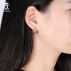Hollow Out Design Fashion Earring Silver Color High Polished Jewelry Earrings for Women