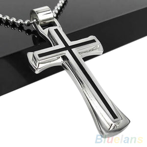Black & Silver Stainless Steel Cross Pendant Necklace