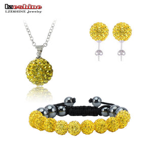 Crystal Necklaces & Pendants/Bracelet/Earring Studs Jewelry Set With Disco Balls for Women