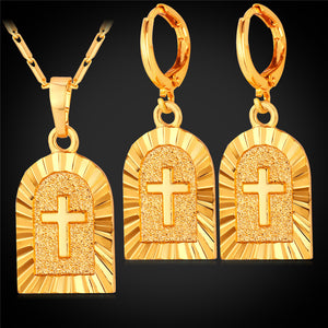 Cross earrings and pendant set gold plated or platinum plated