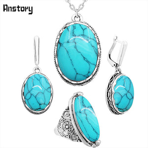 Oval Natural Stone Jewelry Set Choker Necklace Earrings Rings For Women Stainless Steel Chain