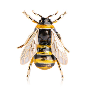 Cute Bee Brooch Gold-color Black Yellow Enamel Brooches