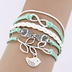 Multilayer Charm Leather Bracelet Owl Cross Believe Statement Jewelry (many variations)