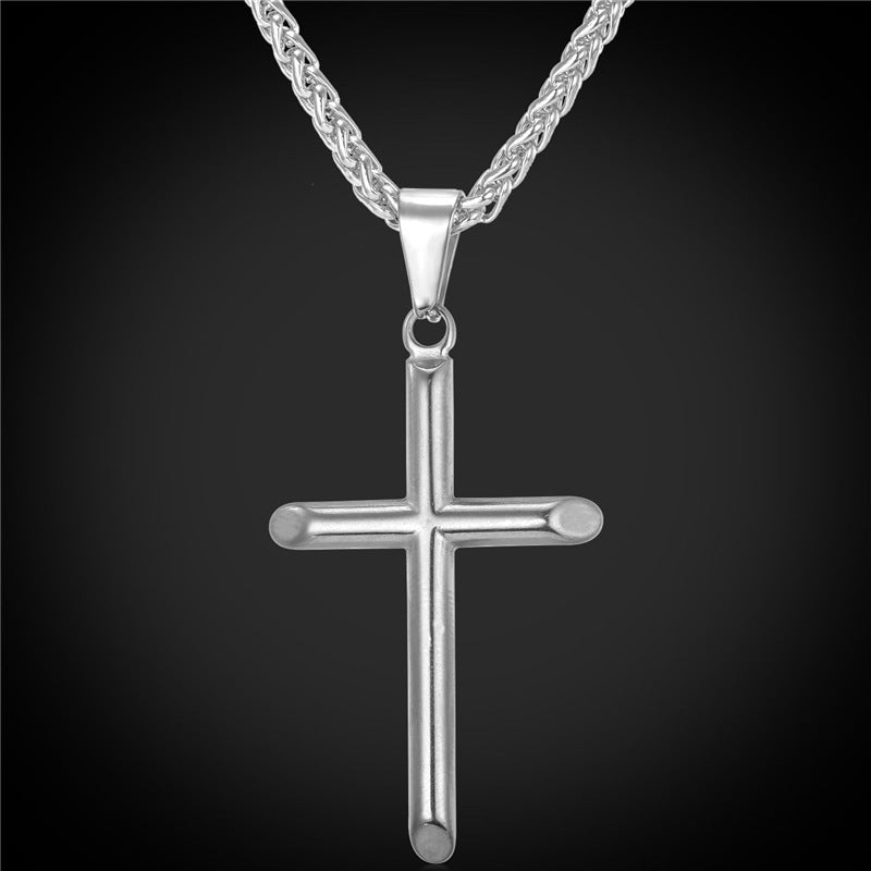 Cross necklace stainless steel 316L or gold plated