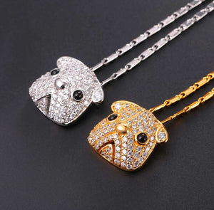 Cute Pug Dog Pendant Necklace Austrian Rhinestones For Women
