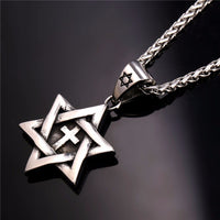 Star of David cross necklace 316L stainless steel
