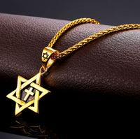 Star of David cross necklace stainless steel 316L gold plated