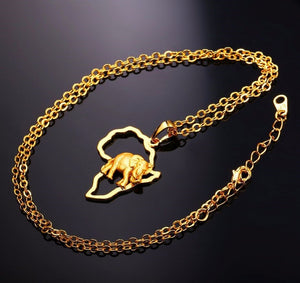 Elephant necklace gold plated or platinum plated