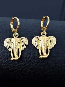 Elephant pendant Elephant earrings jewelry set yellow gold plated