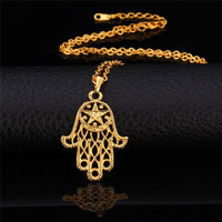 Hand Of Fatima necklace Hamsa pendant gold plated