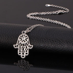 Hand Of Fatima necklace Hamsa pendant rhodium plated