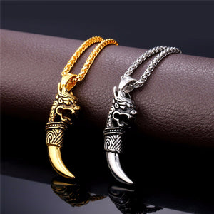 Dragon and Wolf Tooth Necklace Stainless Steel 316 L gold plated