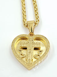Jesus Christ Cross and Heart Necklace gold plated