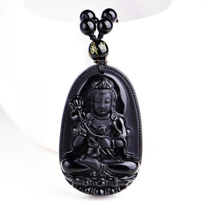 Buddha Necklace Pendant High Quality Unique Natural Black Obsidian Carved
