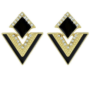 4 Color Enamel Rhinestone Geometric Drop Triangle Earrings for Women