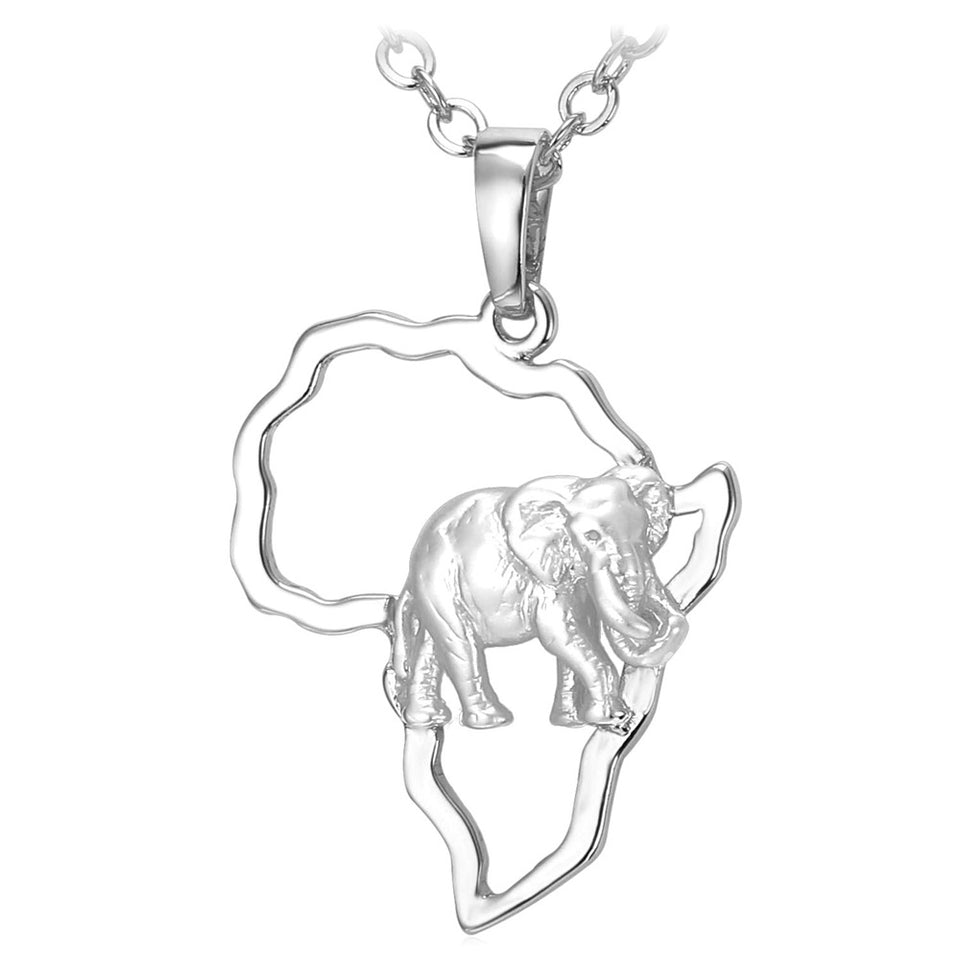 Elephant family necklace gold plated or platinum plated Africa Map