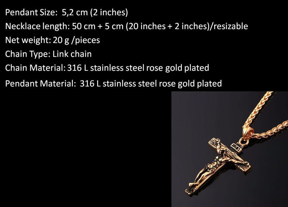 Jesus Christ Cross Necklace rose gold plated
