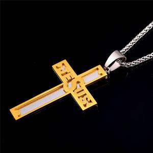 Cross Pendant Jesus stainless steel yellow gold plated