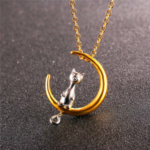 Cat on the moon necklace