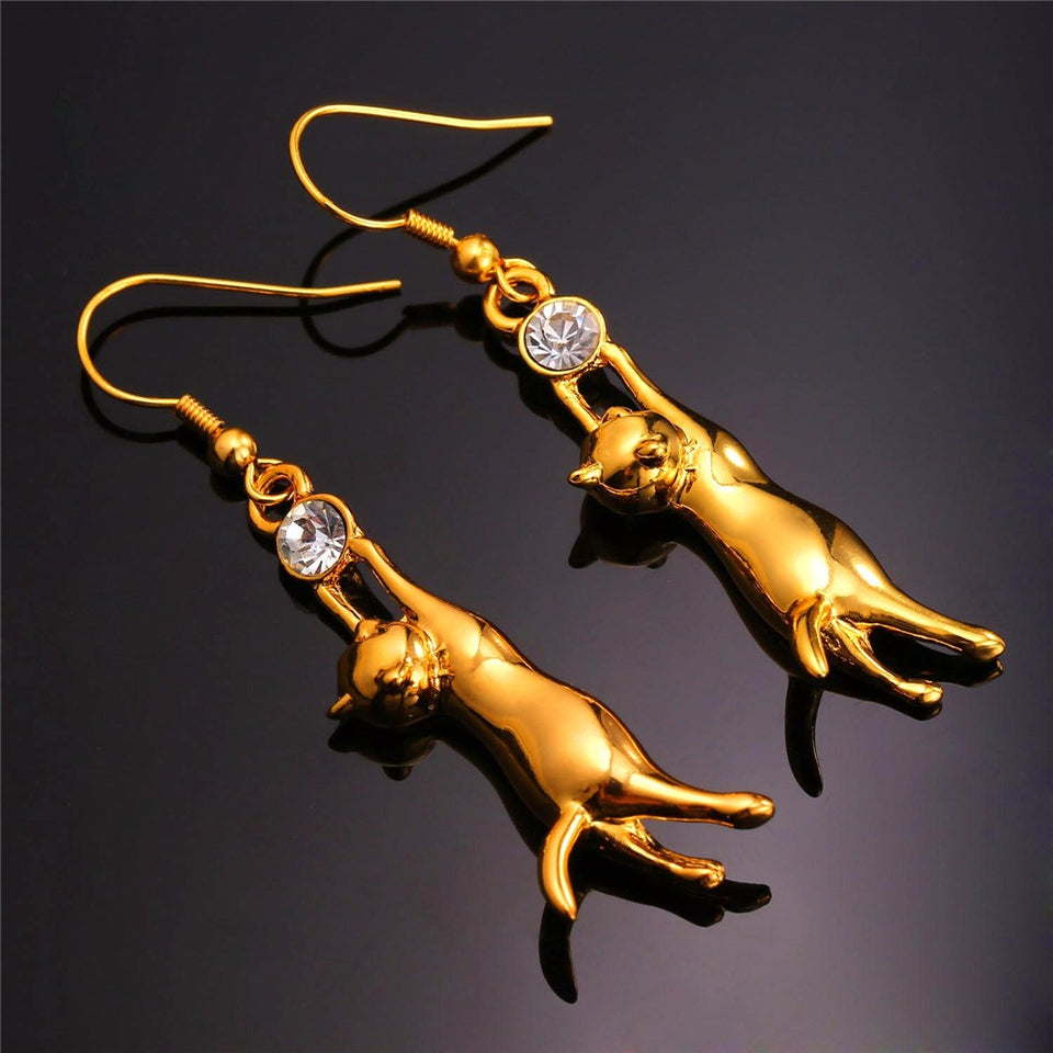 Cat Necklace & Earrings Set with high quality Austrian Rhinestone gold- or platinum plated