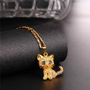 Cat pendant gold plated with Austrian rhinestones