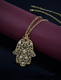Hand of Fatima necklace gold plated with Austrian Rhinestones