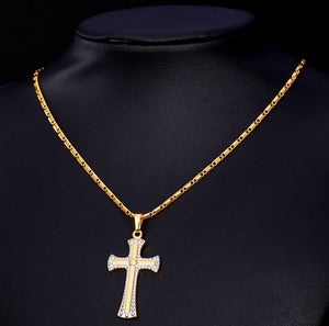 Cross necklace yellow gold plated with high quality austrian rhinestone