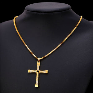 Cross pendant stainless steel 316L gold plated with high quality zirconia
