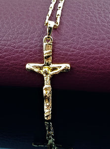 Cross Pendant Jesus yellow gold plated