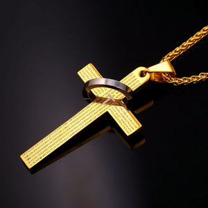Cross necklace with bible text and ring gold plated