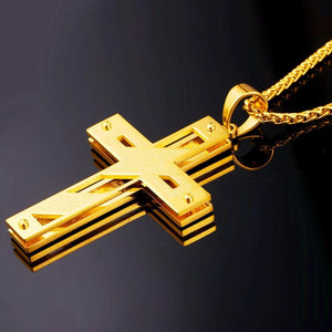 Cross necklace 316 L stainless steel gold plated