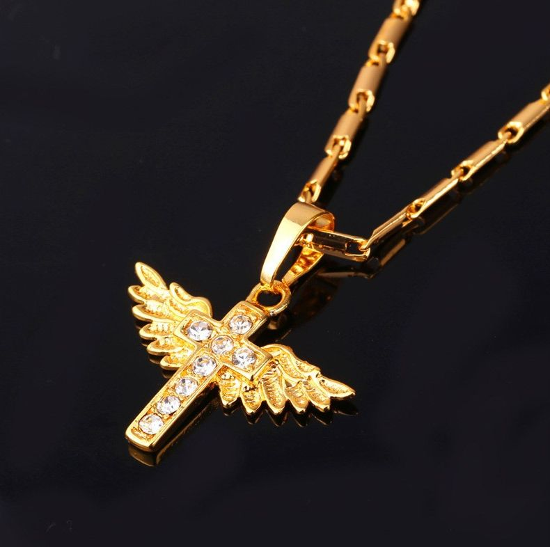 Cross Pendant with Angle Wings gold plated and high quality Austrian rhinestones