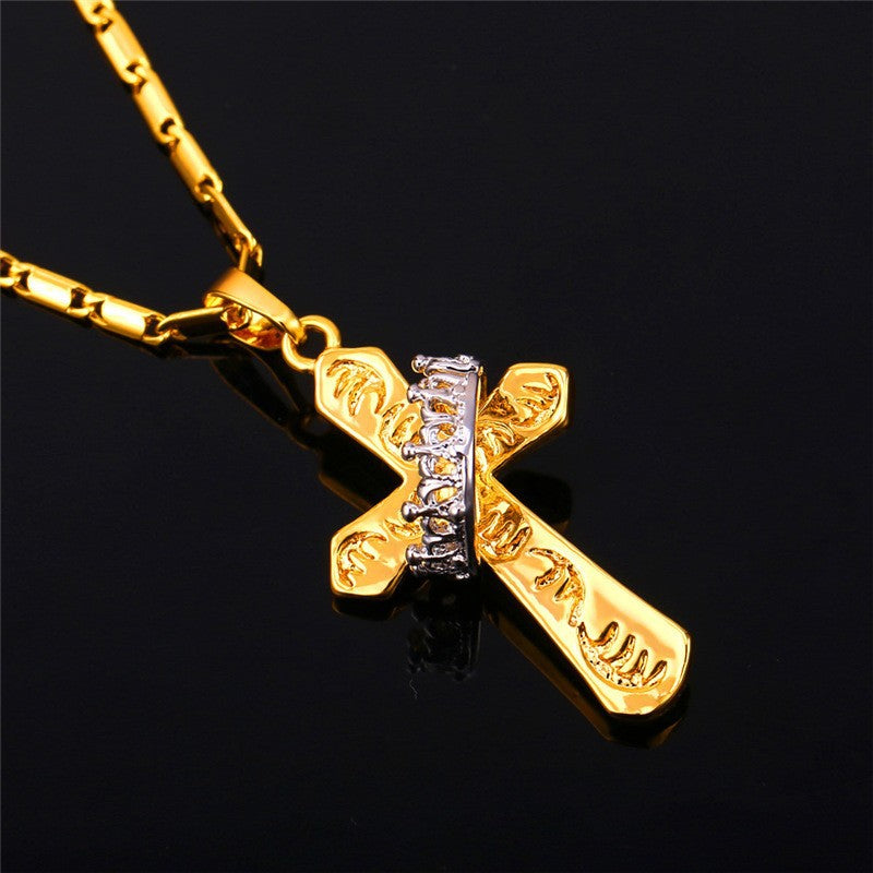 Cross necklace with a silver crown gold plated