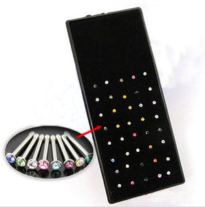 1 sheet / 40 pcs Fashion Clear Crystal Rhinestones Stud Piercing for Women Jewelry