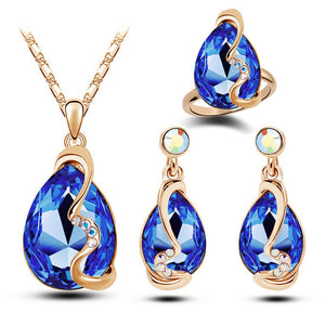 Luxury Austrian Crystals Jewelry Set Gold Color Blue Red Dubai Jewelry