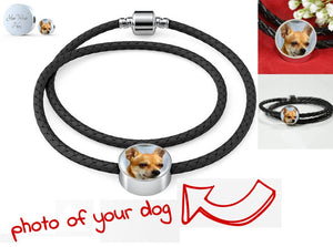 Own Designed Dog Real Leather Woven Bracelet Made In USA