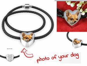 Own Designed Real Leather Woven Dog Heart Bracelet Made In USA
