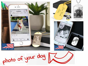 Own Designed Photo Etched Dog Tag with Ball Chain