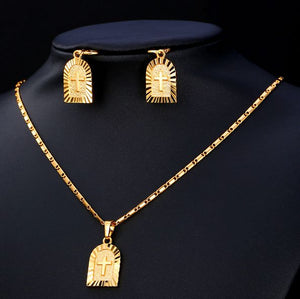 Cross earrings and pendant Set gold plated