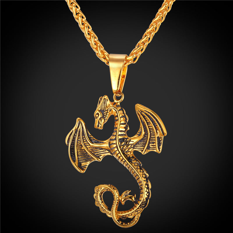 Dragon Necklace Stainless Steel 316L / gold plated