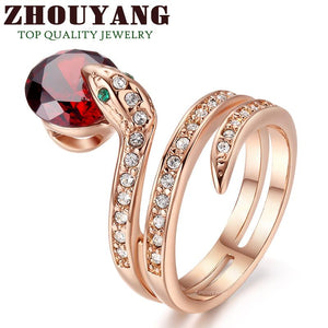 Snake Ring Rose Gold plated with CZ Zirconia